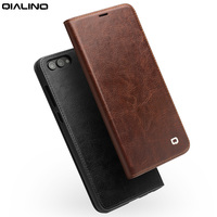 QIALINO Pure Handmade Genuine Leather Flip Case for Huawei Honor V10 Ultra Slim Fashion Phone Cover for Honor V10 for 5.99 inch