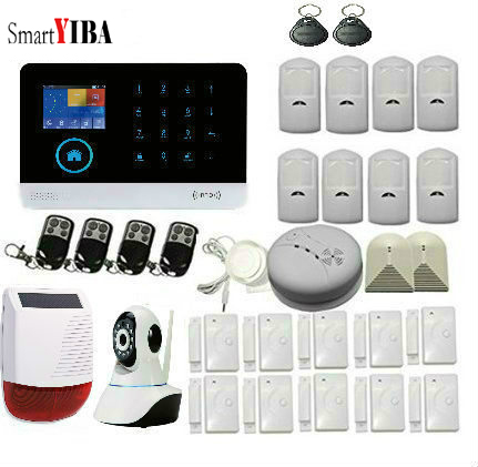 SmartYIBA LCD keyboard Home Burglar Security Protection Alarm System Kits With Solar Siren IP Camera APP remote Control Alram smartyiba 3g wifi alarm system app remote control burglar arm disarm ip camera solar powered siren pet immune pir alarm kits