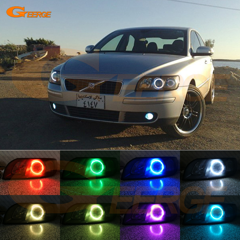 For Volvo S40 V50 2004 2005 2006 2007 headlight Excellent Angel Eyes Multi-Color Ultra bright RGB LED Angel Eyes kit 2pcs purple blue red green led demon eyes for bixenon projector lens hella5 q5 2 5inch and 3 0inch headlight angel devil demon