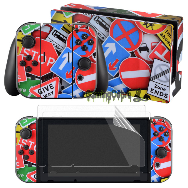 eXtremeRate Colorful Skin Sticker Covers for Nintendo Switch Console Joy-con wisth