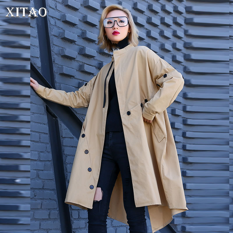 [XITAO] New Women Korea Fashion Solid Color Loose Mandarin Collar Coat Female Irregular Long Pocket Casual   Trench   DLL1719