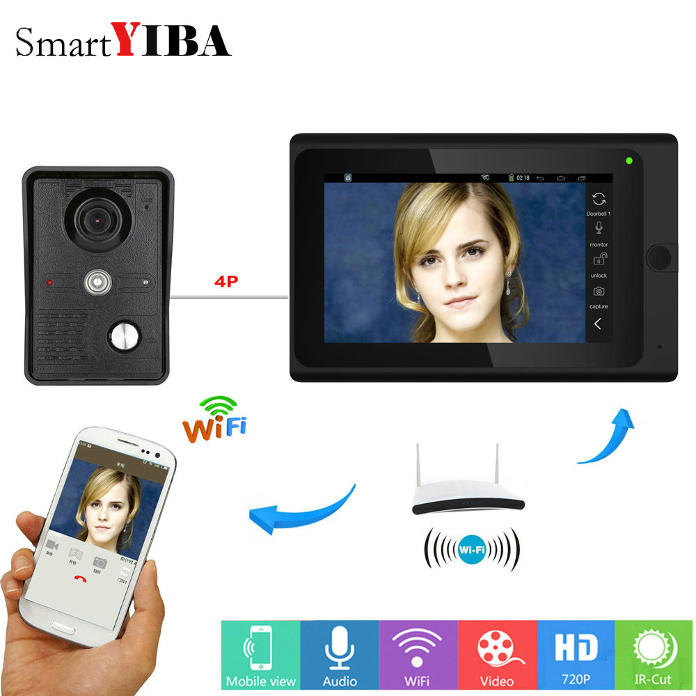 SmartYIBA Wired/Wireless Wifi Video Door Phone Doorbell Intercom Entry System With 7inch Monitor Screen+ IR COMS Outdoor Camera