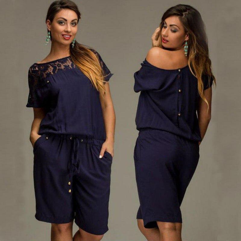Short Sleeve Lace Plus Size Knee-Length Jumpsuit 3