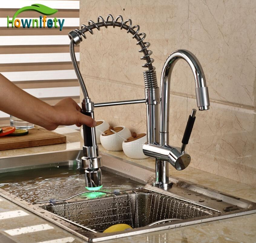 LED Lights Chrome Swivel Kitchen Sink Faucet Dual Spouts Single Handle Mixer Tap led chrome kitchen faucet dual spouts spring vessel sink mixer tap