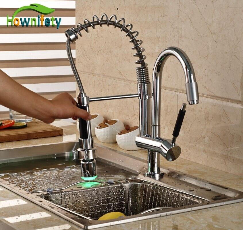 LED Lights Chrome Swivel Kitchen Sink Faucet Dual Spouts Single Handle Mixer Tap