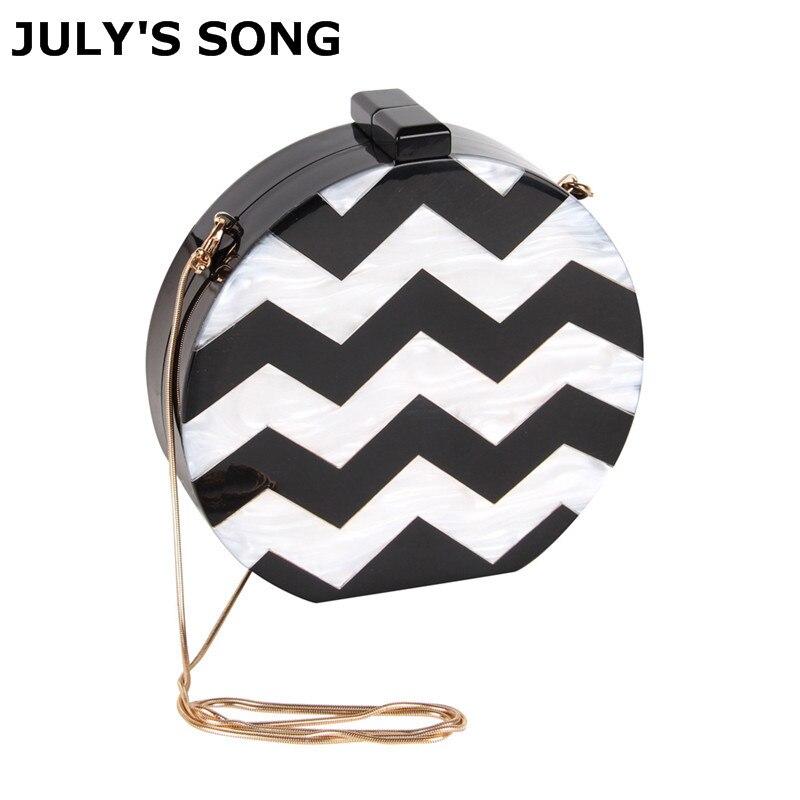 купить JULY'S SONG NEW Acrylic Round Box Women Clutch Bag Stripe Sexy Lady Evening Bag Female Chain Mini Purse Shoulder Bag Handbag по цене 1531.3 рублей