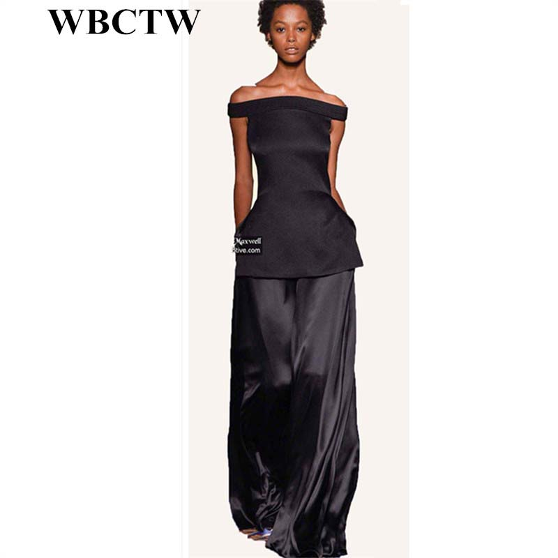 WBCTW Loose Style Womens   Pants   High Waist Solid Long Maxi Summer Casual   Pants   2018 XXS-10XL Big Size Custom Made   Wide     Leg     Pants