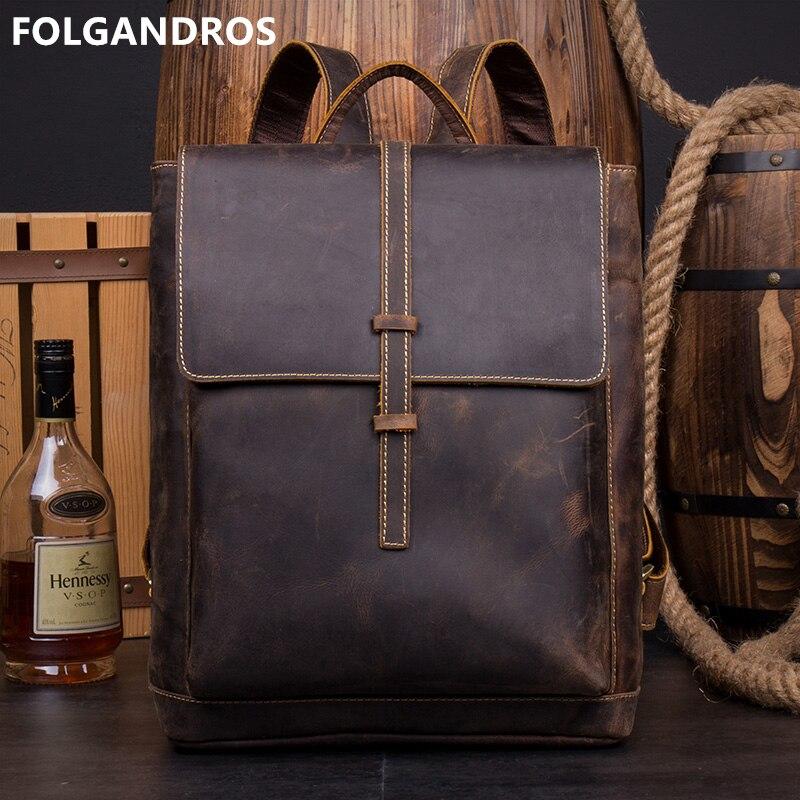Brand Crazy Horse Leather Backpack Men Vintage Handmade Genuine Cowhide Leather Daypack Male Designer High Quality Backpack