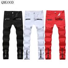 c32e411e3a7 QMGOOD Black White Red Large Size Biker Jeans Men Motorcycle Stretch Cargo  Denim Jeans Hip Hop with Zippers Slim Jean Mens Pants
