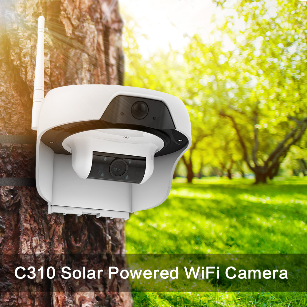 FREECAM Solar Powered wifi Camera HD720P Motion-Activated Wireless Home Security IP Camera with PIR Motion Sensor for Outdoor