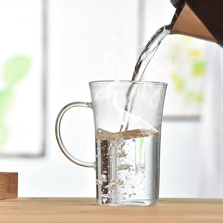 Vaso de vidrio resistente al calor de 350 ml, agua, café, vajilla de oficina para el hogar, pu'er/dhongpao/leche oolong/té blanco