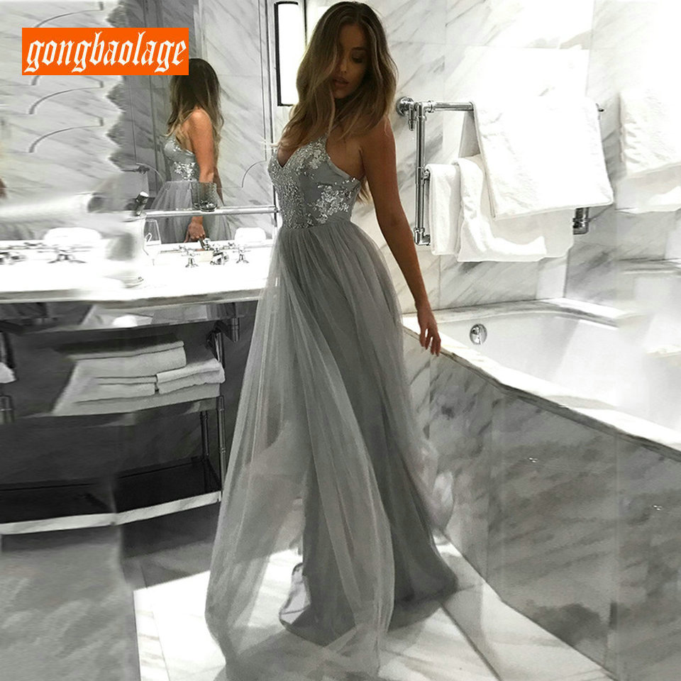 Elegant Gray Long   Dress     Evening   Women 2019 Formal   Evening     Dresses   vintage V-neck Tulle sequined A-Line Sexy Lady Club Party Gown