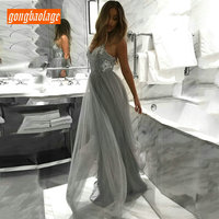 Elegant Gray Long Dress Evening Women 2019 Formal Evening Dresses vintage V neck Tulle sequined A Line Sexy Lady Club Party Gown