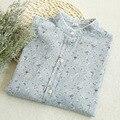 Rústico impressão floral fresca gola fluido de manga comprida camisa do laço laço blusa mori menina