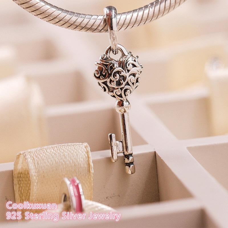 2018 Autumn 100% 925 Sterling Silver Regal Key Pendant Necklace Pendant Fit Original Pandora Charms Bracelet DIY Jewelry