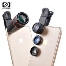 Wholesale prices APEXEL12X Telephoto Telescope Optical Zoom Lens+ Wide Angle & Macro+ Fisheye Lens Camera Lens Kit for iPhone5s 7 6s Plus Samsung