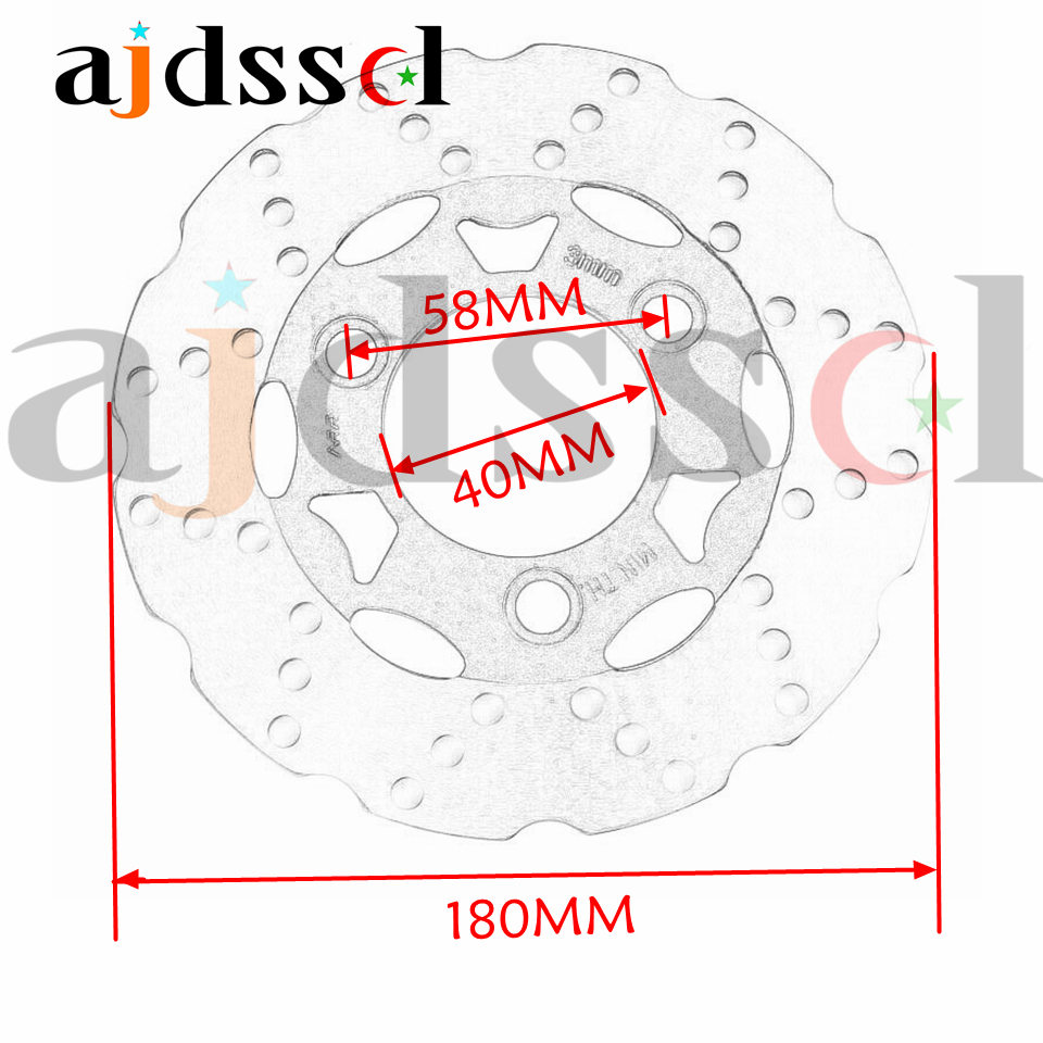 Scooter Hole Diagram Electrical Wiring Diagrams Moped Simplified Universal 180mm58mm Motorcycle 3 Holes Brake Disc 50cc Chinese