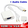 for XBOX 360 PS3 LCD LED Monitor TV 3.5mm HDMI to VGA  Audio Cable Adapter Converter Male To Female Video Converter adapter