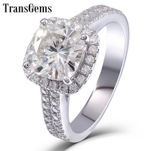 Transgems 14K 585 White Gold Center 2ct 7.5MM Cushion Cut FG Color Moissanite Halo Engagement Ring for Women with Accents