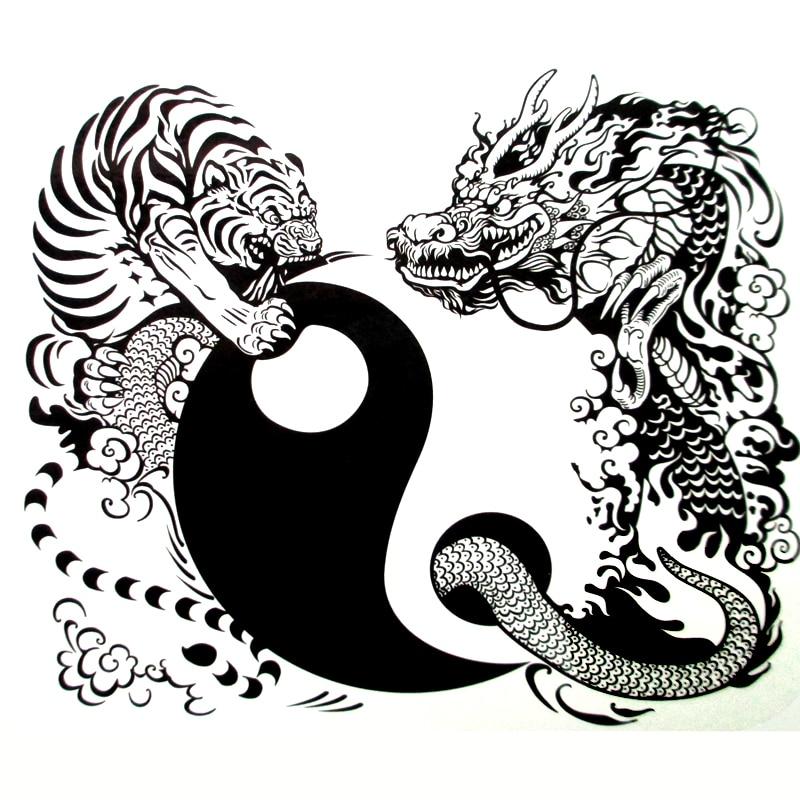 Us 163 18 Off3d Tygrys I Smok Tymczasowy Tatuaż Naklejki Mężczyźni Ramię Nogi Fałszywy Tatuaż Sexy Produkty Tai Chi Tatuaż Tatuagem Temporaria W