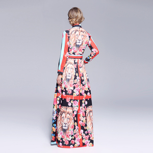 Image 2 - 활주로 맥시 드레스 2019 여성 고품질의 활 목 빈티지 동물 인쇄 층 길이 긴 파티 드레스 vestidos 가운 femme