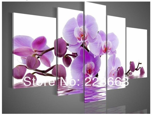 Hand Painted Violet Picture On Canvas Purple Flower Oil Painting No Frame For Bedroom Wall Art