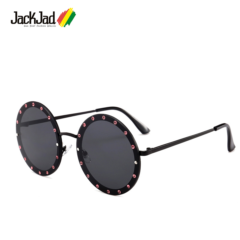 d19c0cb7eb JackJad 2018 Fashion Crystal Rivets Decoration Sunglasses New Cool Trend  Brand Design Round Style Sun Glasses Oculos De Sol 852-in Sunglasses from  Apparel ...