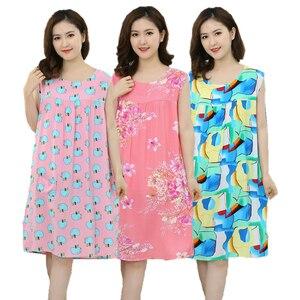 Image 1 - Women Plus Size L  XXXL Floral Sleep Shirt Dress Nightgown Women Cotton Nightdress Nightshirt Ladies Nightwear Pijama Sleepwear