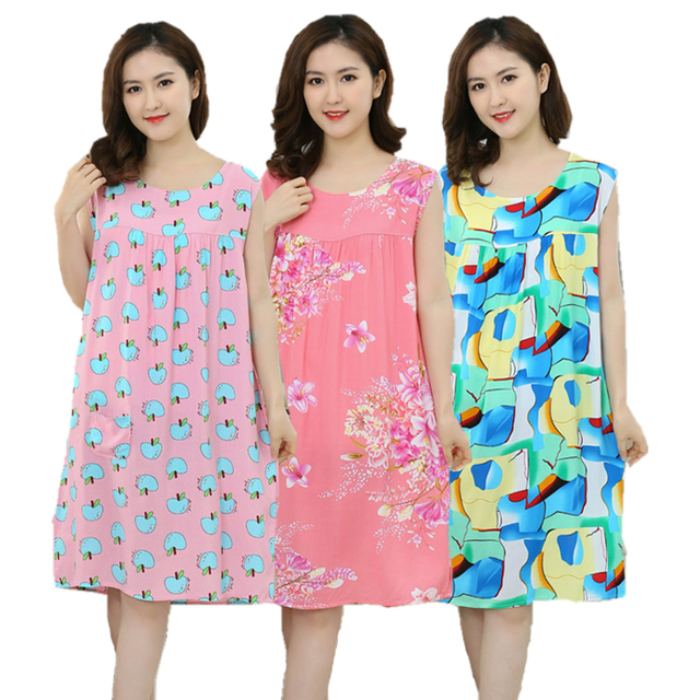 eab8e0ed5ac1b Women Plus Size L- XXXL Floral Sleep Shirt Dress Nightgown Women Cotton  Nightdress Nightshirt Ladies