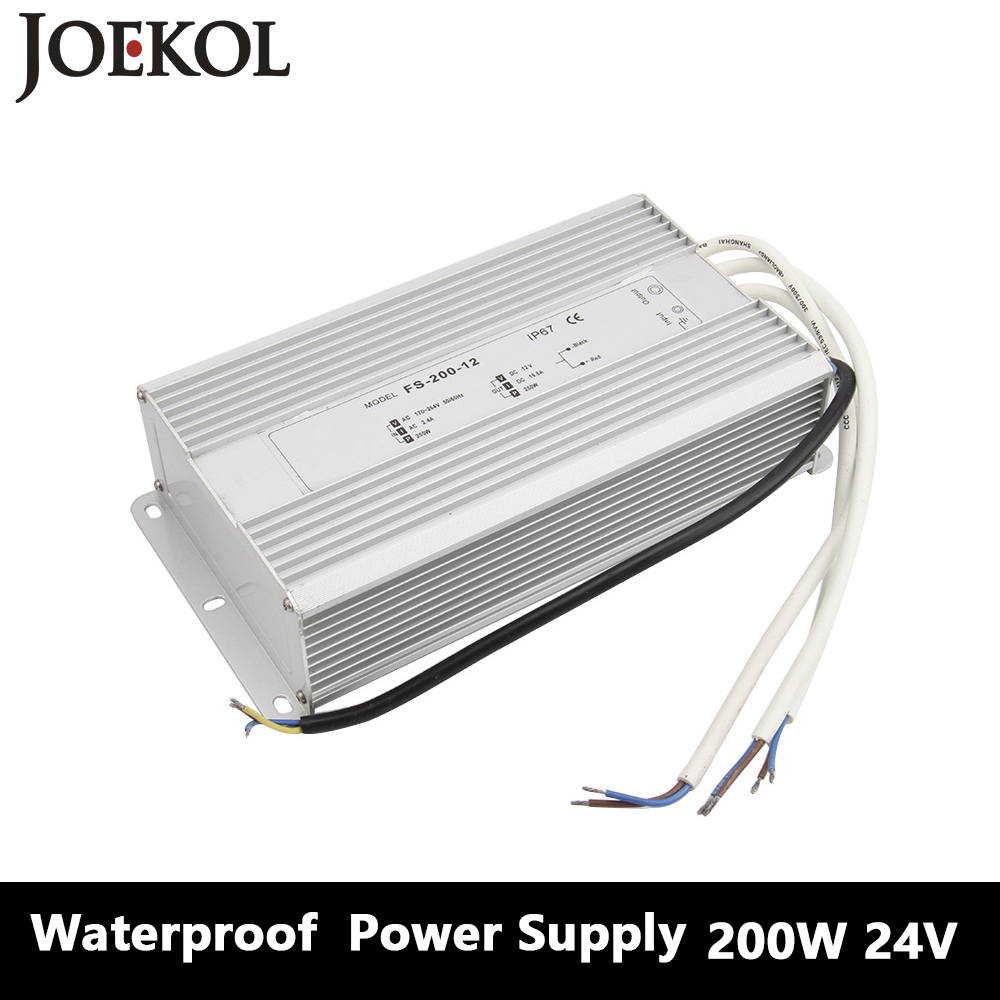 Led Driver Transformer Waterproof Switching Power Supply Adapter,,AC170-260V To DC24V 200W Waterproof Outdoor IP67 Led Strip