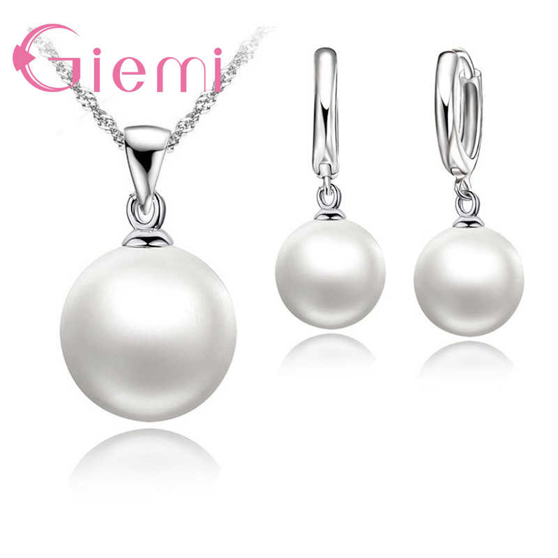 3 Color Option White/Black/Pink Pearl Jewelry Sets Luxury 925 Sterling Silver Necklace Pendant Earrings Set for Women Gift