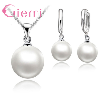 цена 3 Color Option White/Black/Pink Pearl Jewelry Sets Luxury 925 Sterling Silver Necklace Pendant Earrings Set for Women Gift онлайн в 2017 году
