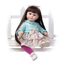Новое прибытие 20 дюймов мягкий винил ребенок родился длинные каштановые прямые волосы девушка игрушки куклы для подарок на день рождения