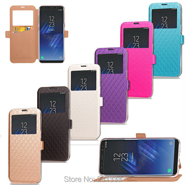 Caller ID Diamond Flip Leather Pouch For Samsung Galaxy S8 PLUS J5 J7 Prime A3 A5 For Huawei P8 Lite 2017 Honor 5C TPU Card 1pcs