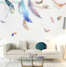 2PCS Background Wall Decoration Wall Paintings Of European-Style Floating Feather Bird Nest  Living Room Bedroom Wall Decal DIY couple bird wall decal