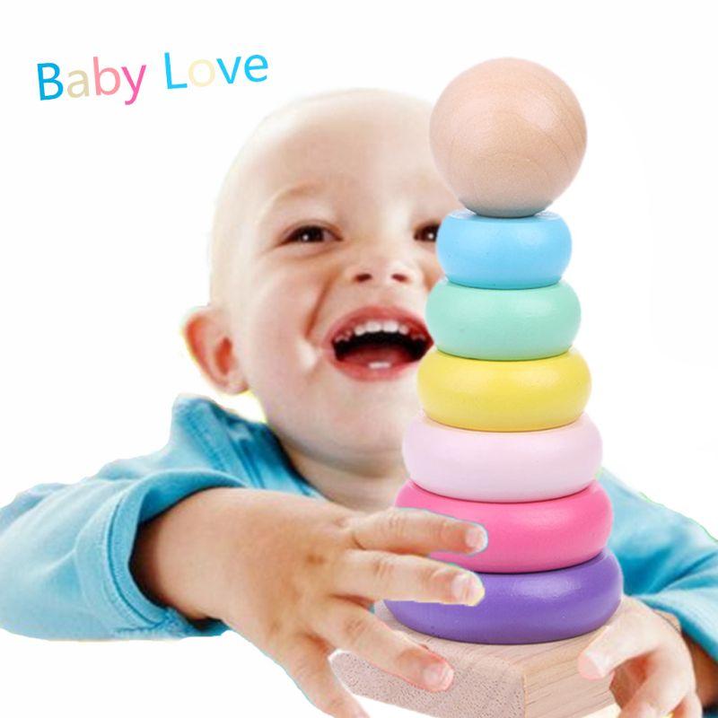 Slim Warme Kleur Regenboog Stapelen Ring Toren Blokken Hout Peuter Baby Speelgoed Redelijke Prijs