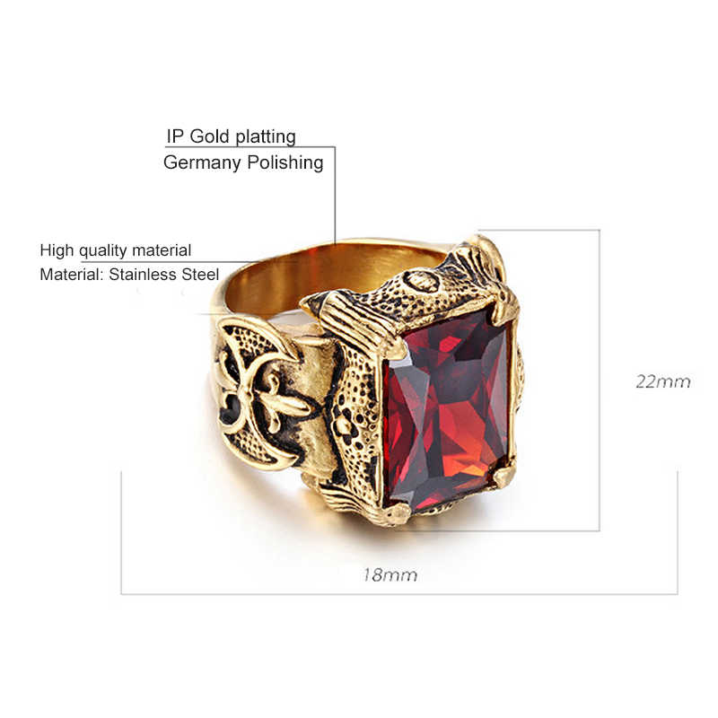 ผู้ชายเครื่องประดับสแตนเลส Seal สไตล์สี Shining คริสตัลแหวนผู้หญิงผู้ชาย Punk ROCK Dragon Signet แหวน