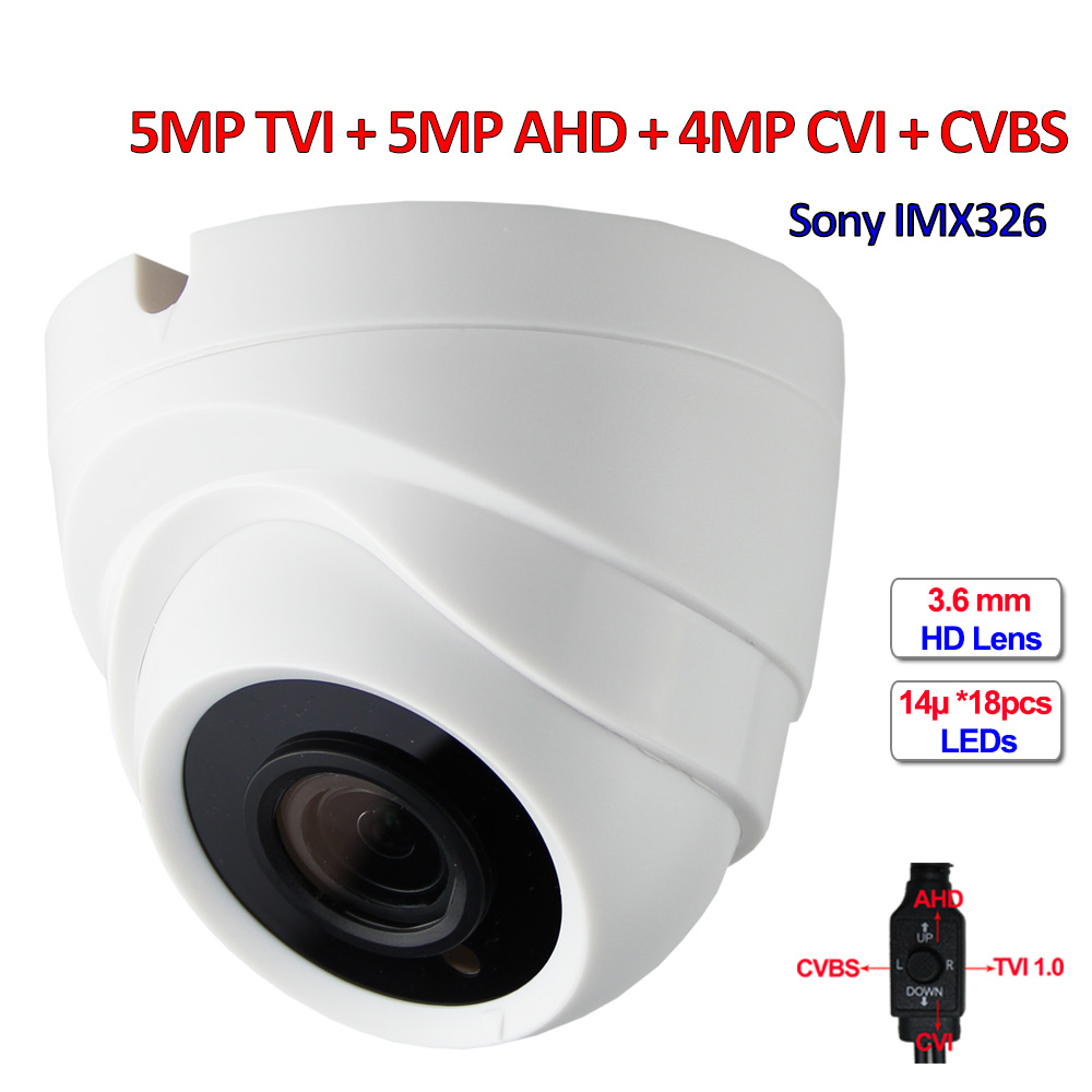 4 in 1 5MP TVI 5MP AHD 4MP CVI CCTV camera IMX326 sensor Security cameras, 3.6mm Lens, 960H, 18pcs LEDs, IR-CUT, DNR, UTC, OSD 5mp tvi 4mp ahd cvi imx326 cmos security camera 4in1 surveillance cameras ir cut dnr utc osd varifocal lens smd ir leds