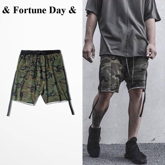 Pantalones cortos para hombre camuflaje hip hop swag kanye west style  stretch algodón corto verano casual 5049a3cf621