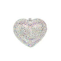 Heart shape Women Evening Bags Ladies Wedding Party Clutch Bag Crystal Colorful diamonds Purses Party Bridal Handbag With Chain