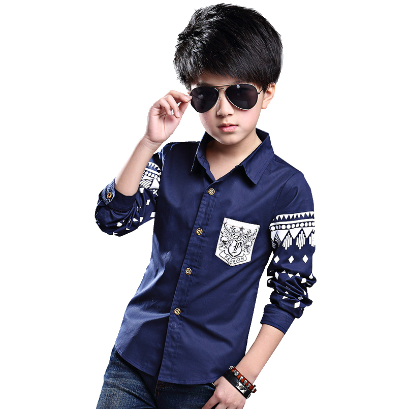 Shirts For Boys Long Sleeve Turn-Down Collar Kids Tops Cotton Pattern Shirts Spring Autumn Teenage Clothing 4 6 8 10 12 14 Years modish turn down collar plaid print tiny skulls pattern long sleeve shirt for men