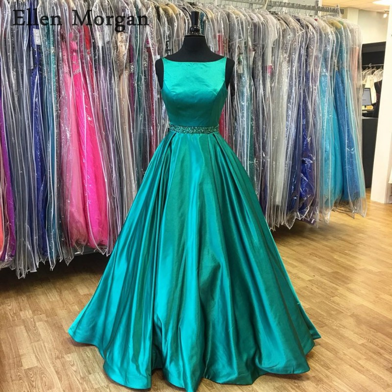 Long Satin   Prom     Dresses   2019 for Women Beaded Real Pictures Boat Neck Closed Back Zipper Vestido De Festa Party Gowns