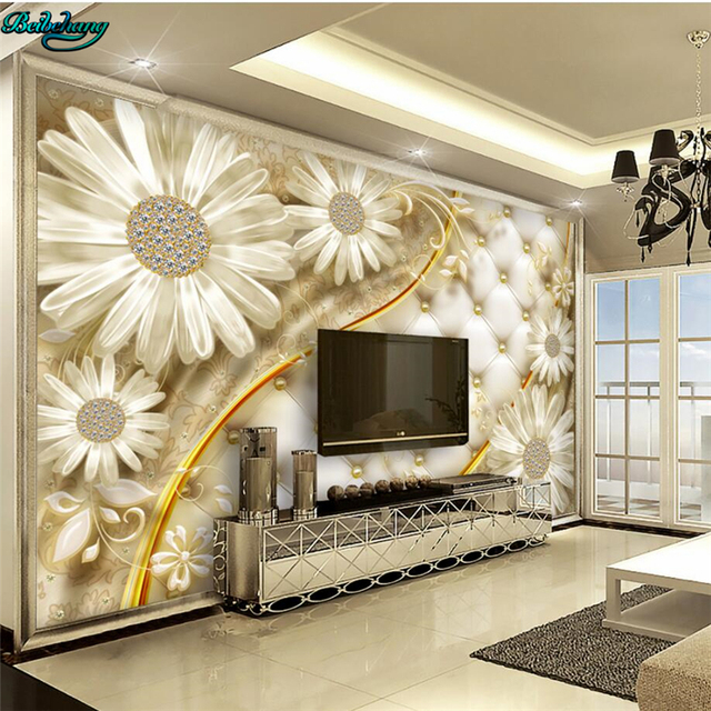 Beibehang Large Custom Wallpapers Transparent Flowers Luxury Jewelry TV  Background Living Room Wall Furnishings