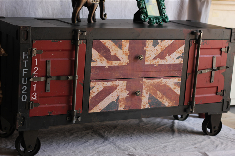 british flag furniture. Distressed Classic American Style Antique Furniture Loft Mining British Flag Imitation Iron Cabinet TV Cupboards-in Bar Tables From On