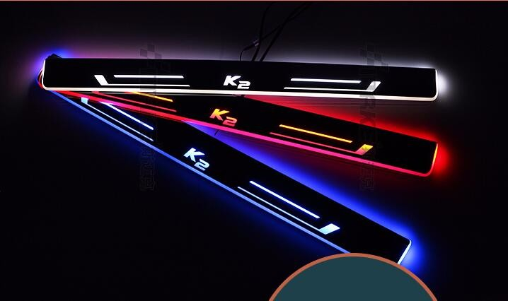 WOOBEST Waterproof Ultrathin Acrylic LED door sill for Kia K2 rio 2015-2016, Led moving door scuff plate, Pathway light ...