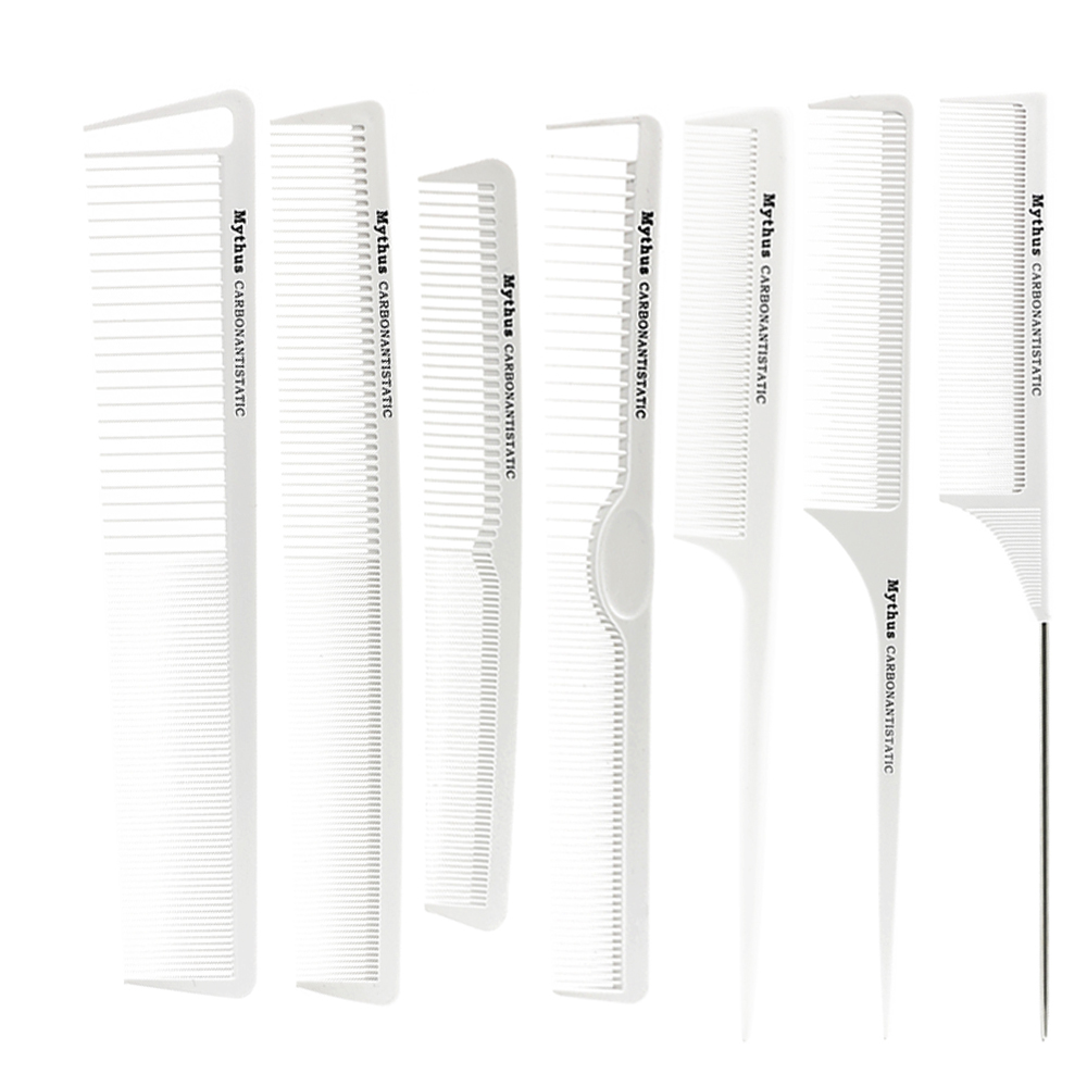 7pcs / lot T & G Brand New Hair Carbon Comb Anstatic Haidresser Comb Set TG-07 För Barber Bra Quality White Hair Tail Comb On Sale