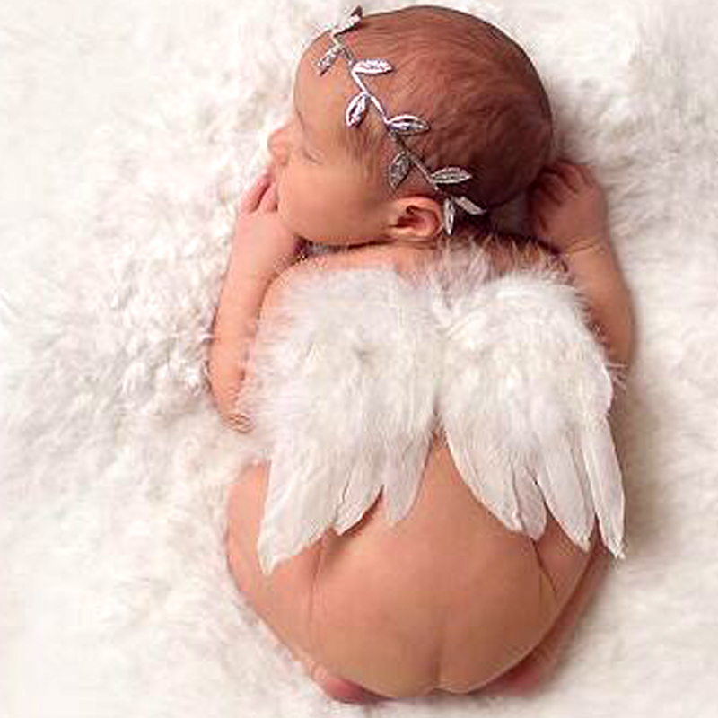White Feather Angel Wings AND Silver Foil Leaf Headband Accessories Sets Infantil Photos Bebe Foto Prop Baby Photographers