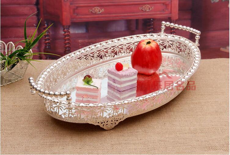 Panier à fruits en métal | Ovale découpé, plateau à dessert pour fruits, support d'assiettes, panier à fruits en métal argenté décoration plateau de service FT031 50x30cm