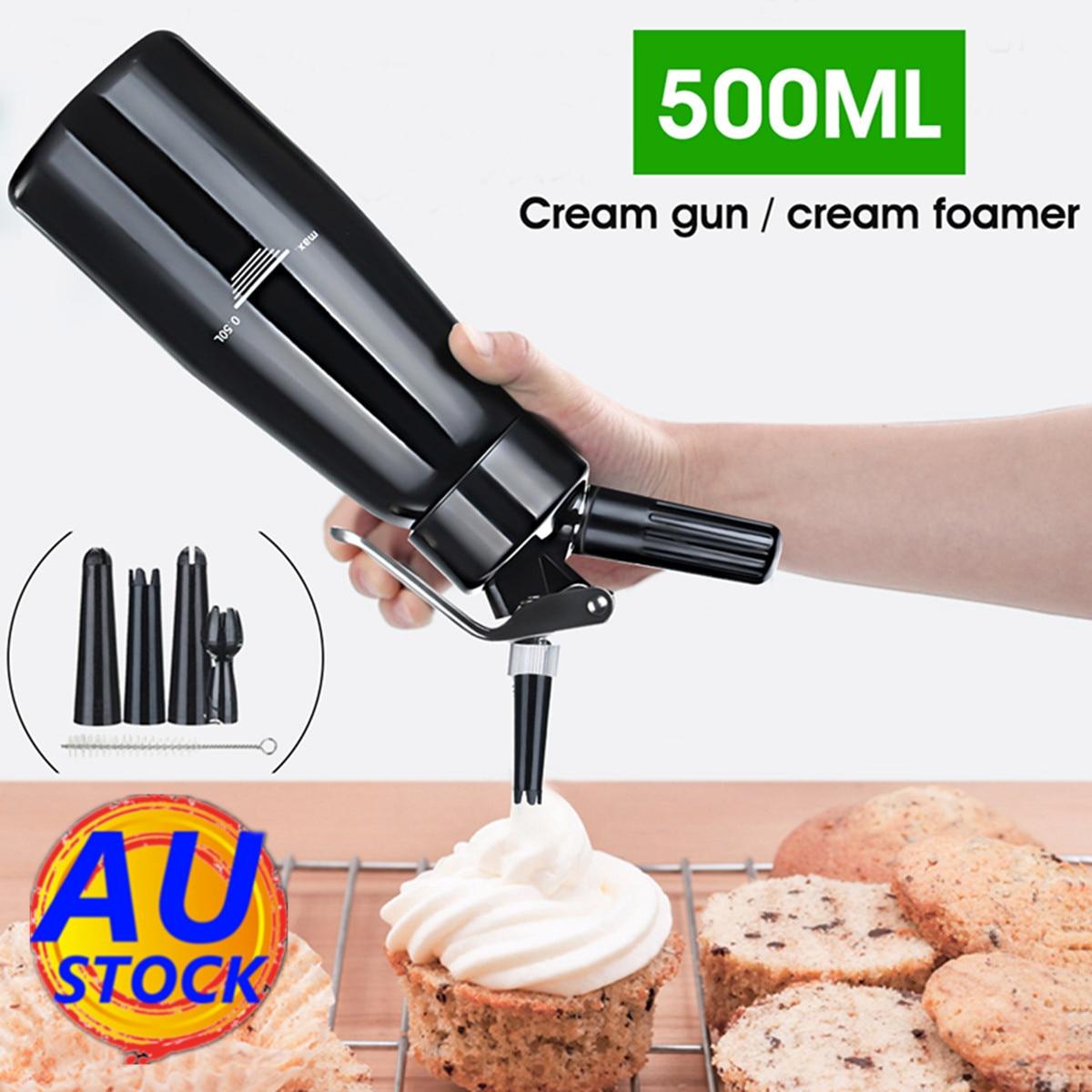 500ml Black Cream Butter Foam Whipper Coffee Dessert Cake Batter Dispenser Maker with Brush Nozzle Piping Mouth