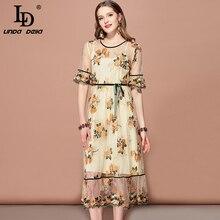 LD LINDA DELLA 2019 Fashion Runway Summer Dress Women's Half Sleeve Mesh Overlay Flower Embroidery Bow Elegant Slim Midi Dress